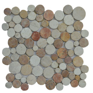 Mosaic Coin Mix Onyx – Cream – Yucatan Brown 30×30
