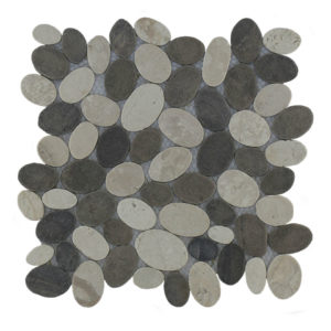 Mosaic Oval Mix Gray – Cream 30×30