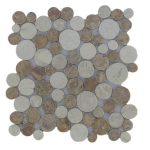 Mosaic Coin Mix Yucatan Brown – Cream 30×30