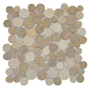 Mosaic Coin Onyx – Sunset Brown – Cream 30×30